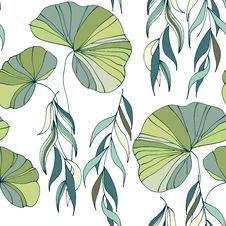 Lily Willow Branches Seamless Pattern Background Royalty Free Stock Image