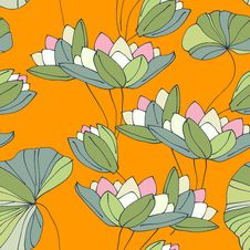 Free Waterlily Seamless Flower Tropical Pattern Stock Image - 29093791
