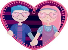 Boy And Girl In The Heart Stock Image