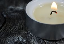Free Close-up Photograph Of A Lit Tea Light Candle On An Old Wooden B Royalty Free Stock Images - 29095919