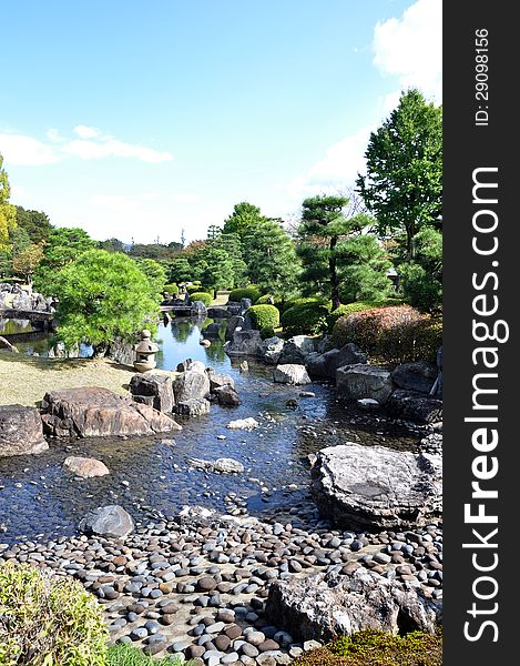 Garden with pond in japanese style in Nijo castle