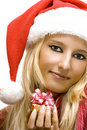 Free Girl Wearing Santa Claus Hat Stock Photo - 2910950