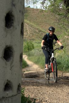 Free Active Woman Mountain Biker Stock Images - 2913904