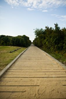 Free Sandy Wooden Boardwalk Leading Royalty Free Stock Image - 2914236