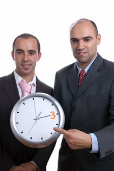 Business Men With Clock Royalty Free Stock Photography
