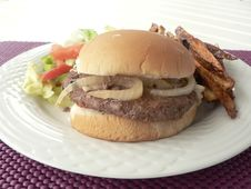 Burger With Salad And Fries 2 Royalty Free Stock Images