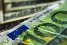 Euro And Dollar Bills Royalty Free Stock Photo