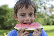 Free Boy Eats Watermelon Royalty Free Stock Photos - 2916958