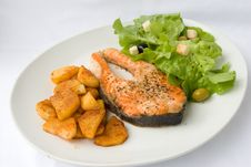 Free Grilled Salmon With Lettuce Stock Photos - 2918283