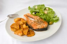 Free Grilled Salmon With Lettuce 4 Stock Photo - 2918410
