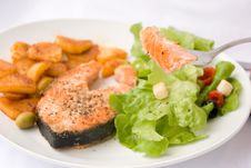 Free Grilled Salmon With Lettuce 10 Royalty Free Stock Photography - 2918637