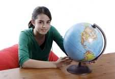 Free Girl With A Globe Royalty Free Stock Photo - 2919065