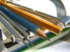 Compasses_ Pencils. Royalty Free Stock Photo