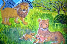 Family Of Lions On Child S Picture Royalty Free Stock Photo