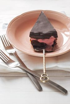 Free Piece Of Chocolate Cake With Pink Yogurt Cream Royalty Free Stock Images - 29102649