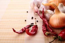 Garlic,onion,pepper And Spice Royalty Free Stock Photos