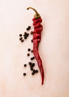 Dry Chili And Black Pepper Royalty Free Stock Images