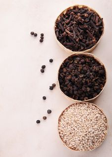 Sesame,cloves Stock Photo