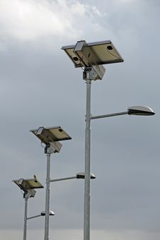 Solar Street Lamps Stock Images