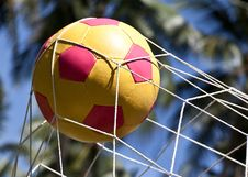 Free The Soccer Ball In The Goal. Stock Photography - 29108322