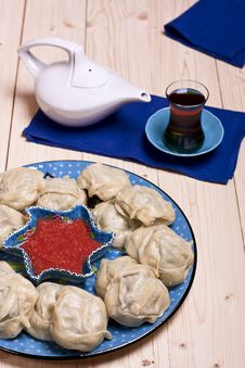 Free Kazakh Or Uzbek Dish - Manti Royalty Free Stock Image - 29109386