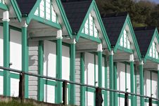 Free Refurbished Beach Huts On South Wales Coast Royalty Free Stock Photos - 29111848