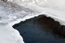 Free Hole In The Ice On The River And Clean Water Stock Image - 29119871