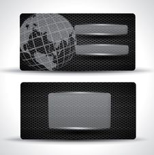 Free Carbon Business Card - Black With Globe Stock Image - 29122681