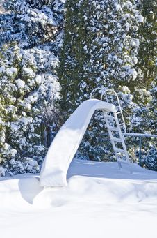 Free Water Slide Covered With Snow Royalty Free Stock Photo - 29129755
