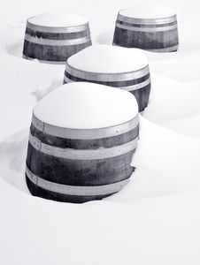Wine Barrels In The Snow 1 Royalty Free Stock Photography
