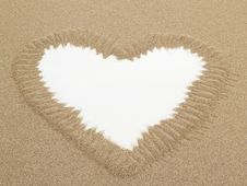 Heart Shape Drawn In Sand With White Space For Text