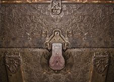 Free Antique Trunk Closeup With Grape Leaf Pattern Stock Photography - 29131332