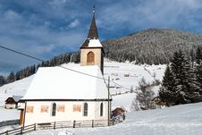 Free A Wintertime View Of A Small Church With A Tall Steeple Stock Image - 29141141
