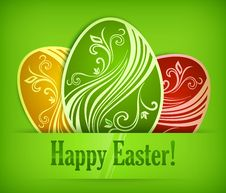 Free Painted Easter Eggs On Green & Text Royalty Free Stock Photos - 29141508