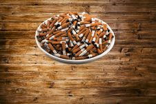Free White Ceramic Plate With Cigarettes Stock Image - 29143191