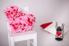 Candeholder With Red Heart And White Chair Stock Photos