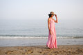 Free Beautiful Woman With Long Pink Dress On A Tropical Beach Royalty Free Stock Photography - 29155187