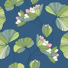 Free Waterlily Seamless Flower Tropical Pattern Stock Photos - 29150093