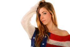 Free Beautiful Blonde Girl Wearing A Sweater With The Flag Of United Stock Image - 29154751