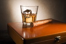 Whiskey And Cigar Royalty Free Stock Image