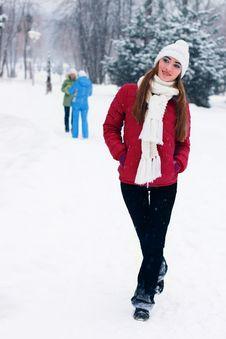 Sensual Portrait Of Pretty Woman In Winter Park Royalty Free Stock Photo