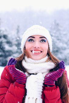 Sensual Portrait Of Pretty Woman In Winter Park Stock Image