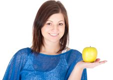 Free Beautiful Young Woman With Green Apple Over White Background Stock Photography - 29158122