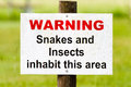 Free Warning Sign Snakes & Insects Stock Image - 29169111