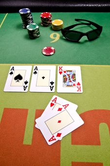 Poker Cards And Sunglass Royalty Free Stock Photo