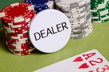 Free Dealer Button And Chips Royalty Free Stock Image - 29165166