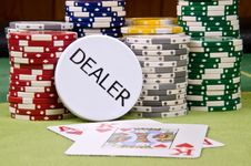 Free Dealer Button And Chips Stock Photography - 29165182
