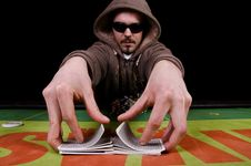 Free Poker Player Give The Cards A Shuffle Royalty Free Stock Image - 29165296