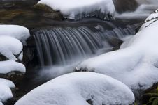 Free Small Waterfall On A Stream Covered In Snow Royalty Free Stock Photos - 29167208