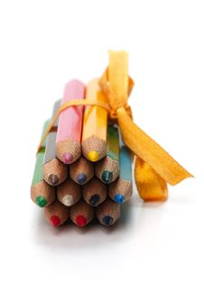 Pencils Bound Together With Ribbon Royalty Free Stock Photos